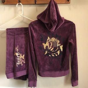 Juicy Couture Purple Velour Purple Track Suit